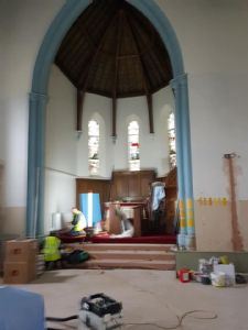 They have started to clear out and work on the front of church