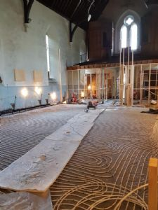All of th eunderfloor heating pipes, ready for the screed at the weekend
