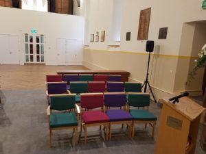 The chairs have arrived for the worship area