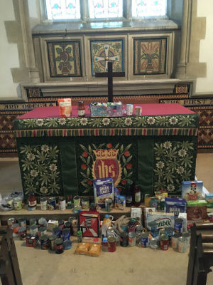 Harvest gifts given by children and families of Hormead First School