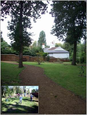 Another view of the memorial garden with inset workparty photo
