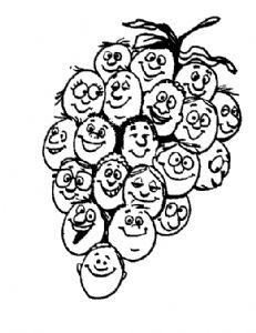 A bunch of grapes  - there is a face on each grape - so a bunch of people
