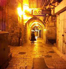 Jerusalem Street lit up