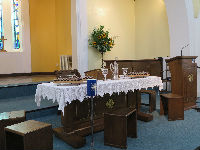 The Lords Table set ready for communion