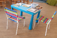 Childrens table ready for Sunday service