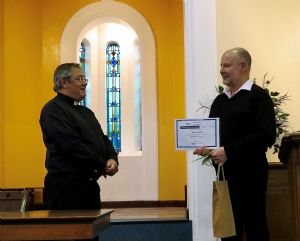 Matthew receives his lay preaching certificate from Graham