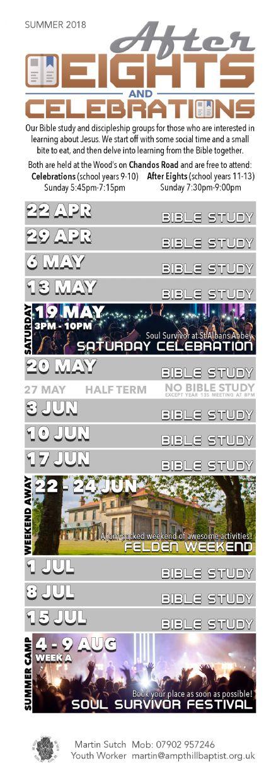 Study Dates 2018 Summer