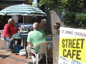 Street Café - morning coffee & a chat by the bus stop