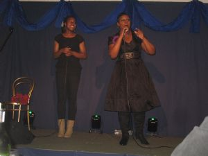 Beverley & daughter on stage