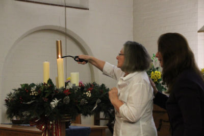 Lighting the first Advent Candle