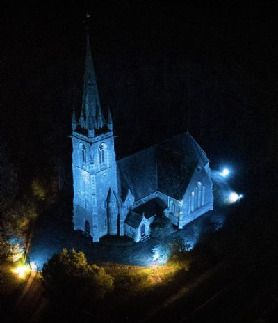 Stow Church in blue