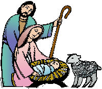 Mary and Joseph with manger