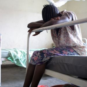 A female patient waiting in the ward in Africa