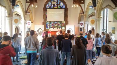The RYC team leading worship at the training camp in Harpenden.
