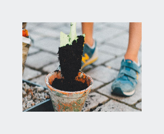 Child digging potting