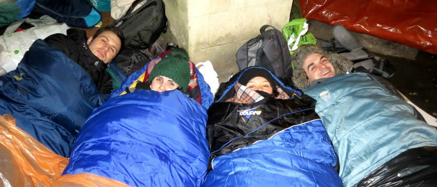 sleeping out  in sleeping bags