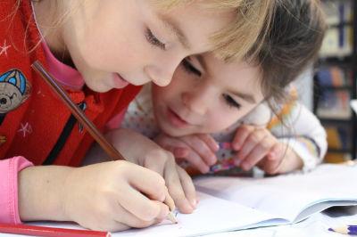 children completing activity