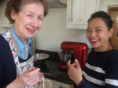 enjoying making scones