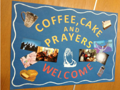 coffee cake and prayers banner