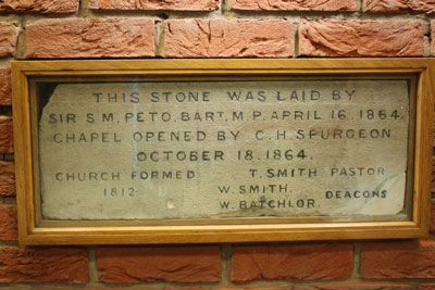 Foundation stone laid by C H Spurgeon