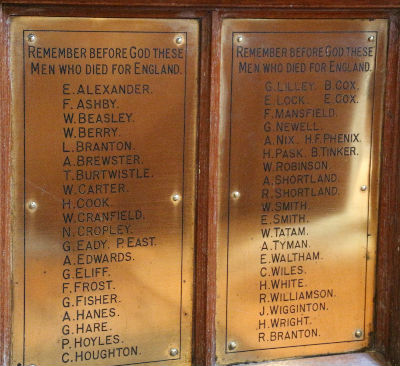 Great War Memorial Plaques: Photo J Kebbell