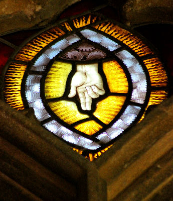 Pinchbeck St Mary: Hand of God in Stained Glass: Photo C Kebbell
