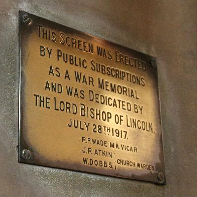 Rood Screen Dedication Plaque : Photo J Kebbell