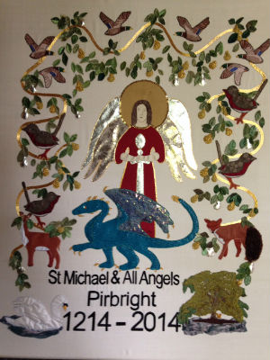 Banner of our St Michael and the dragon - made by Rhoda Nevins and volunteers