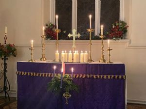 Altar with advent candles