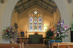 Church interior with flowers