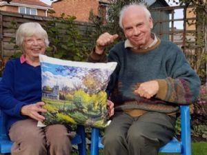 Pam and Chris Talbot with the Pirbright cushion