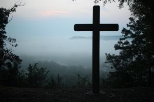Easter cross and mountains