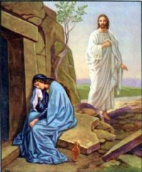 Mary sees Jesus at the empty tomb