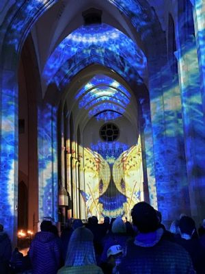 Guildford Cathedral light show January 2020