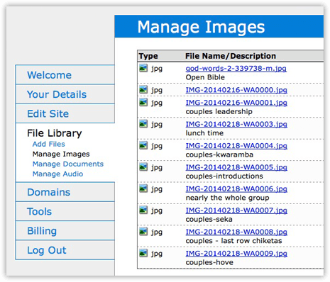 Image management in Church123's web builder.