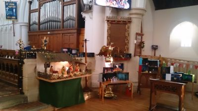 The children made their own nativity scenes in shoe boxes to join the one usually on display in church,