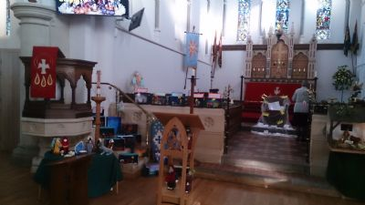 A view of the church decorated for the nativity weekend