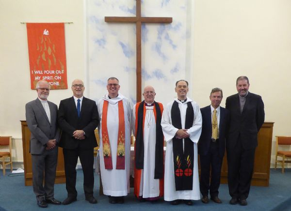 Rev John Hellyer, Rev Ray Stanyon, Rev Michael Hopkins,  Rt. Revd. Dr. Chris Herbert, Rev Conrad Hicks, Mr Alan Yates and Rev Dr Chris Blake (Left to right)