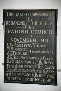 Plaque Commemorating Bell Rehanging