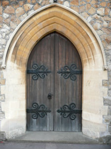 Exterior church door St Lukes TW