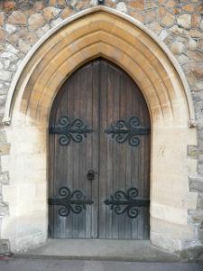 Exterior church door St Lukes TW