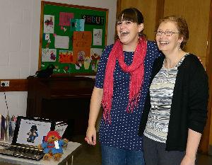 Our CMS partner, Anna Sims (left)  with Hilary Wynn