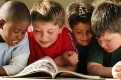 boys reading activity book
