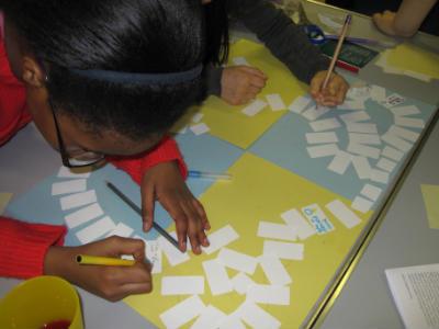 Sunday School children making peace game