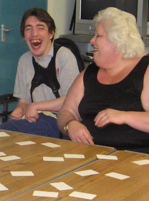 Disabled Christian Man plays Bible games