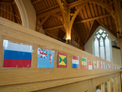 Flags showing the multinational nature of our congregation