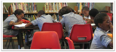 A class working in the library