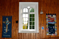 Interior window with banners