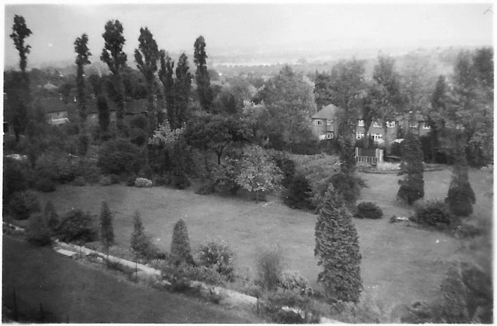View from the back of the Centre showing three levels of grass with lines of trees and bushes, with houses in the distance.