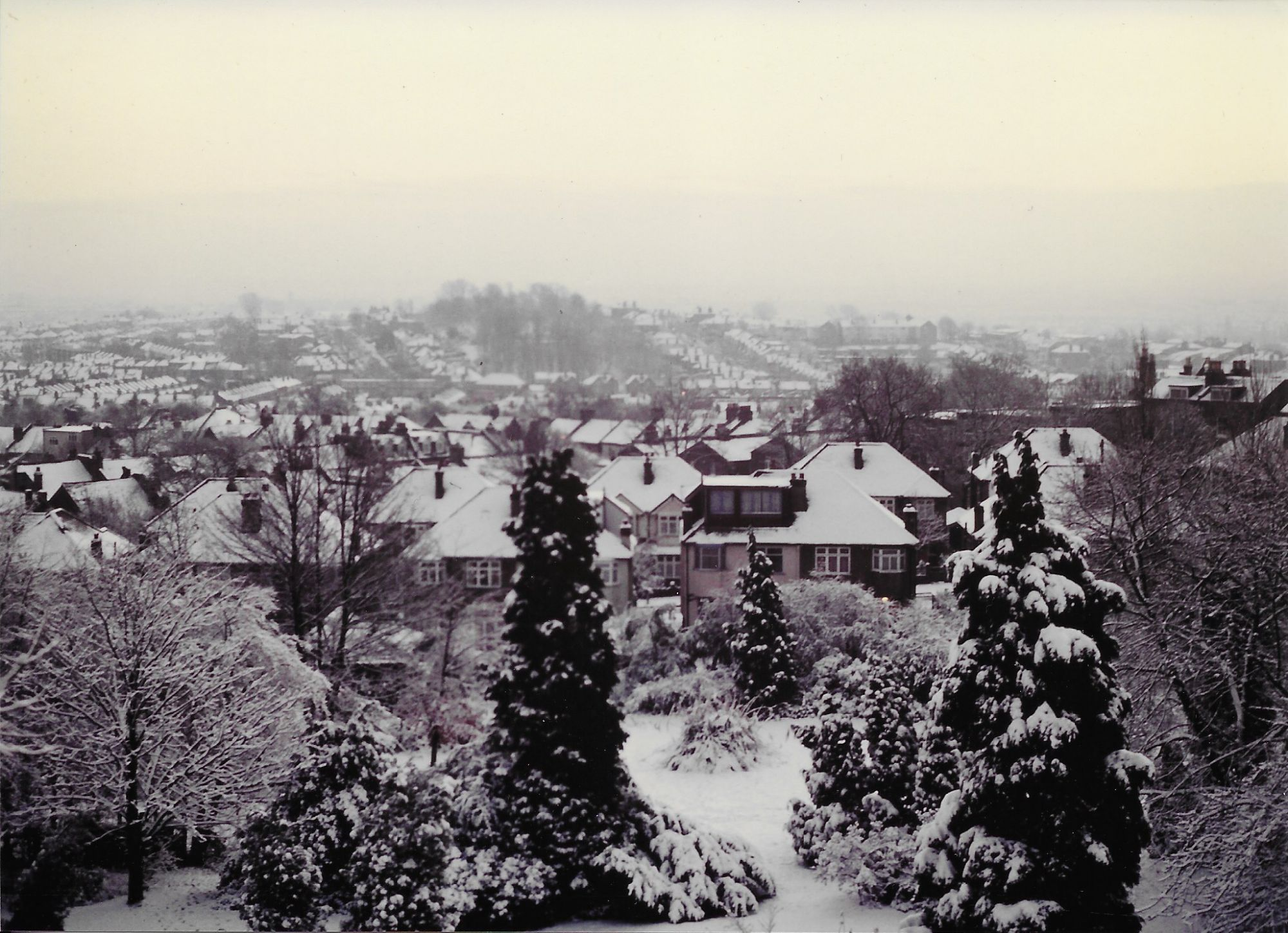 View from upstairs of garden in snow with houses in the distance.
